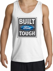Built Ford Tough Tank Top - Ford Logo Adult White Tanktop