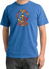 Peace Sign Shirt Funky 70s Peace Pigment Dyed Tee Medium Blue
