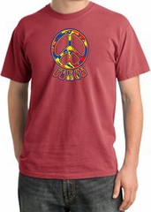 Peace Sign Shirt Funky 70s Peace Pigment Dyed Tee Dashing Red