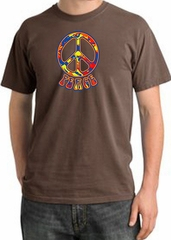 Peace Sign Shirt Funky 70s Peace Pigment Dyed Tee Chestnut