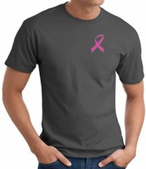 Breast Cancer T-shirt Pink Ribbon Pocket Print Charcoal Tee