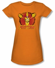 Firestorm Juniors T-shirt - Ring Of Firestorm Dc Comics Orange Tee