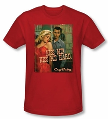 Cry Baby Slim Fit T-shirt Movie Kiss Me Adult Red Tee Shirt