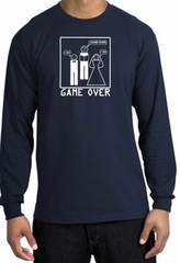 Game Over Marriage Ceremony Long Sleeve Navy Shirt - White Print