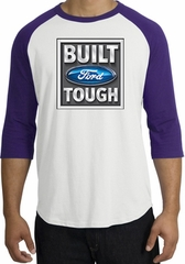 Built Ford Tough Raglan Shirt - Ford Logo Adult White/Purple T-Shirt