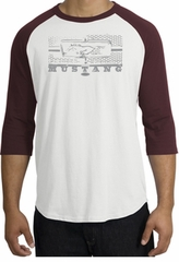 Ford Mustang Raglan T-Shirt Legend Honeycomb Grille White/Maroon Shirt