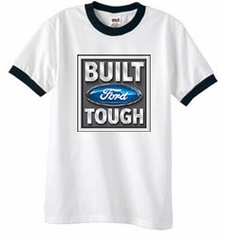 Built Ford Tough Ringer T-Shirt - Ford Logo White/Black Tee Shirt