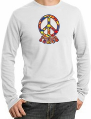 Peace Sign Shirt Funky 70s Peace Thermal Shirt White