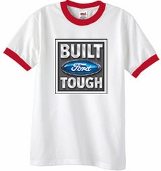 Built Ford Tough Ringer T-Shirt - Ford Logo Adult White/Red Tee Shirt
