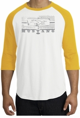 Ford Mustang Raglan T-Shirt - Legend Honeycomb Grille White/Gold Shirt