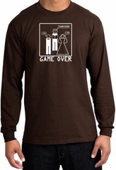 Game Over Marriage Ceremony Long Sleeve Brown Shirt - White Print