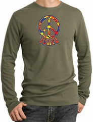 Peace Sign Shirt Funky 70s Peace Thermal Shirt Army Green