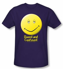 Dazed & Confused T-shirt Movie Dazed Smile Purple Slim Fit Tee Shirt