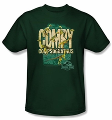 Jurassic Park T-shirt Movie Compy Adult Hunter Green Tee Shirt