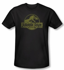 Jurassic Park T-shirt Movie Distressed Logo Adult Black Slim Fit Tee