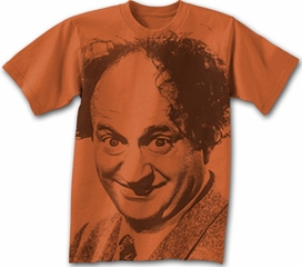 Three Stooges T-shirt Larry Big Face Adult Funny Orange Tee Shirt