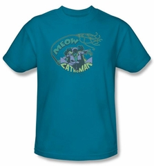 Catwoman T-shirt - Meow Catwoman Adult Turquoise Tee