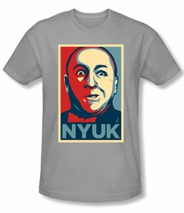 Three Stooges Shirt NYUK Funny Adult Silver Slim Fit Tee T-Shirt