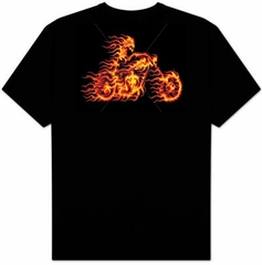 Biker T-shirt - Biker on Fire Adult Tee