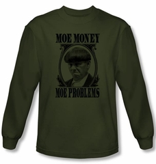 Three Stooges Shirt Moe Money Funny Adult Green Long Sleeve T-Shirt