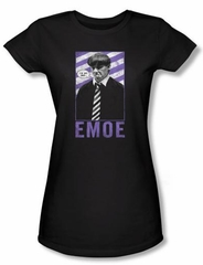 Three Stooges Juniors Shirt Emoe Funny Black Tee T-shirt