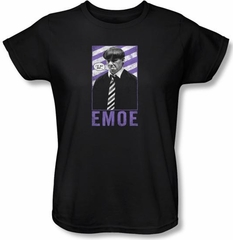 Three Stooges Ladies Shirt Emoe Funny Black Tee T-shirt