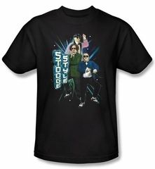 Three Stooges Shirt Funny Stooge Style Adult Black Tee T-shirt