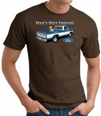 Ford Man's Best Friends Classic Truck Adult T-Shirt- Brown