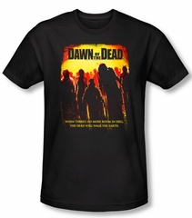 Dawn Of The Dead T-shirt Movie Title Adult Black Slim Fit Tee Shirt
