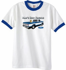 Ford Truck Man's Best Friend Classic Adult Ringer Shirt - White/Royal