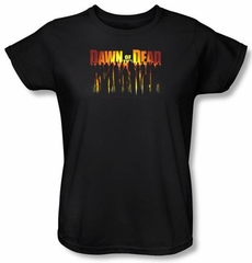 Dawn Of The Dead Ladies T-shirt Walking Black Tee Shirt