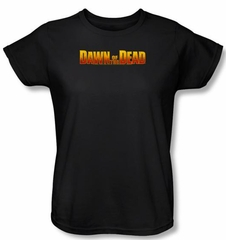 Dawn Of The Dead Ladies T-shirt Movie Dawn Logo Black Tee Shirt