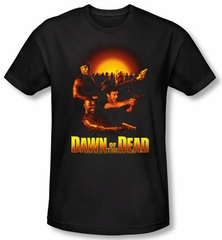 Dawn Of The Dead T-shirt Movie Dawn Collage Black Slim Fit Tee Shirt