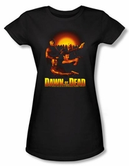Dawn Of The Dead Juniors T-shirt Movie Dawn Collage Black Tee Shirt