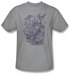 Batman T-Shirt - Pencil Bat Collage Adult Silver Tee