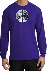 Peace Shirt Peace Earth Satellite Image Long Sleeve Shirt Purple