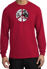 Peace Shirt Peace Earth Satellite Image Long Sleeve Shirt Red