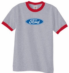 Ford Logo Ringer T-Shirt - Oval Emblem Adult Heather Grey/Red Tee