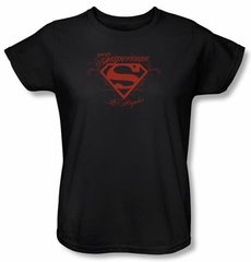 Superman Ladies T-shirt DC Comics Los Angeles Shield Black Tee Shirt
