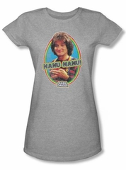 Mork and Mindy Juniors Shirt Nanu Nanu Athletic Heather T-Shirt