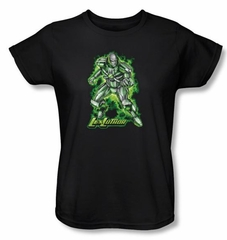 Superman Ladies Shirt DC Comics Kryptonite Lux Luther Black T-Shirt