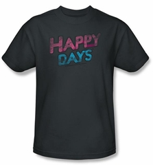 Happy Days T-shirt - Distressed Adult Charcoal Shirt
