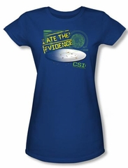 CSI Juniors T-shirt I Ate The Evidence Royal Blue Tee