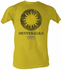 USFL Denver Gold T-shirt Football League Adult Yellow Tee Shirt