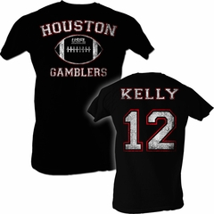USFL Houston Gamblers T-shirt Jim Kelly Adult Black Tee Shirt