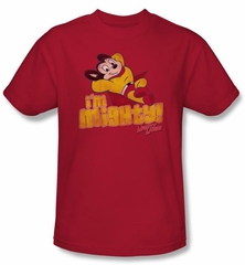 Mighty Mouse T-shirt - TV Series I'm Mighty Adult Red Tee