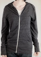 Alternative Apparel Full Zip Hoodie Sweatshirt Eco Black Heather Hoody