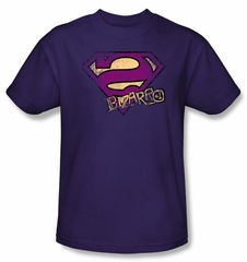 Superman T-shirt Bizarro Logo Distressed Shield Adult Purple Tee Shirt