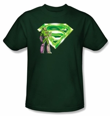 Superman T-shirt Lex Luthor Kryptonite Logo Hunter Green Tee Shirt