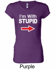 Stupid Shirt I'm With Stupid White Print Ladies Longer Length Shirt